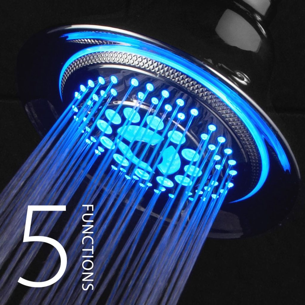 DreamSpa All Chrome Water Temperature Controlled Color Changing 5-Setting LED Shower-Head - good gifts for mothers day