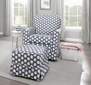 Stork Craft Polka Dot Upholstered Swivel Nursery Glider -glider for small nursery