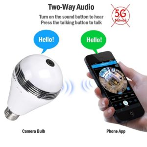 Camera Bulb VR Panoramic Hidden Camera with 360 Degree Fisheye Lens - real hidden cam