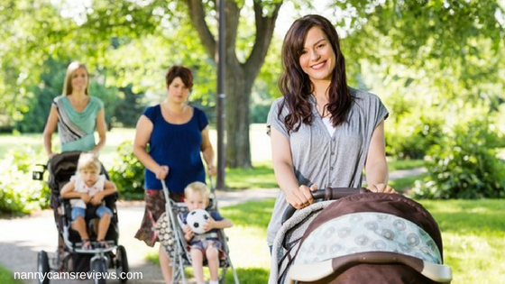 Beautiful Mother Pushing Baby Stroller In Park - stroller organizer bag