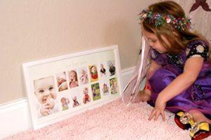Babys First Year Frame in Elegant White Natural Wood