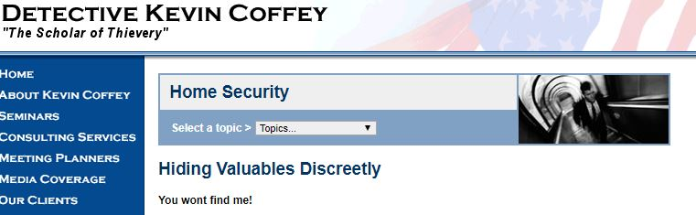 Detective Kevin Coffey - Hiding your valuables discreetly