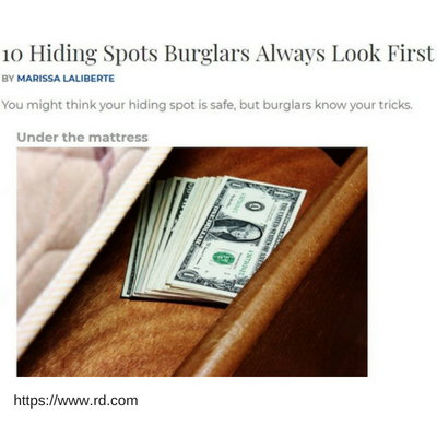 Readers Digest - 10 Hiding Spots Burglars Always Look First