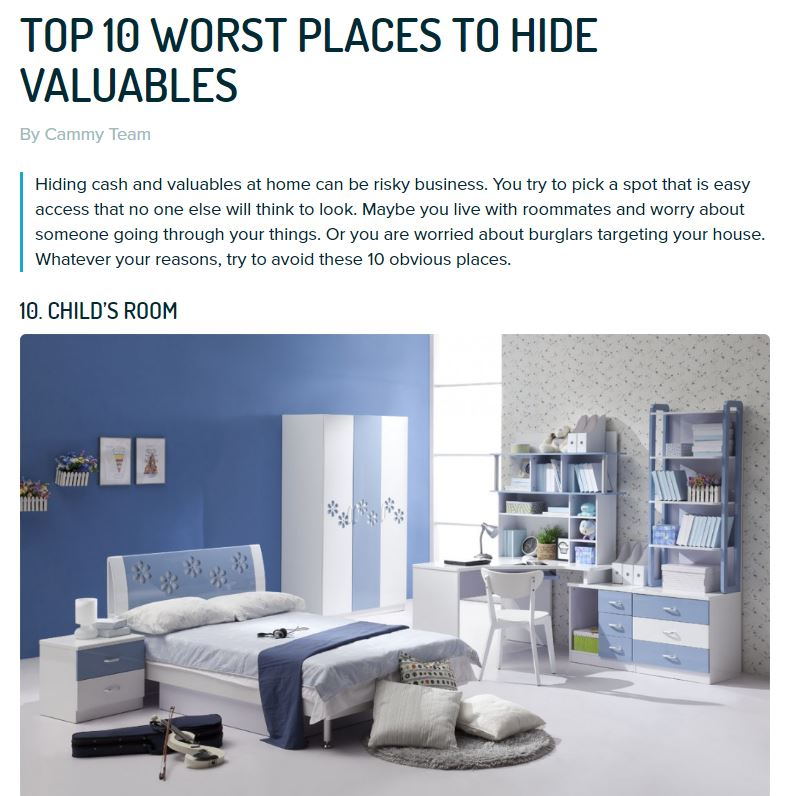 To 10 worst places to hide valuables