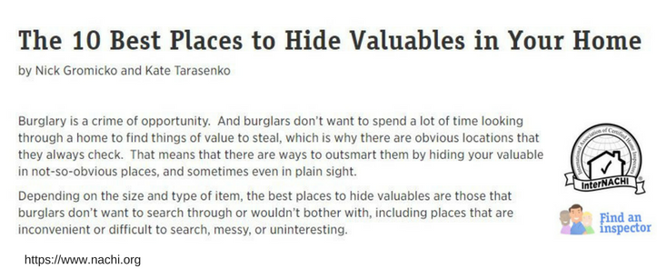 nachi.org - The 10 Best Places to Hide Valuables in Your Home